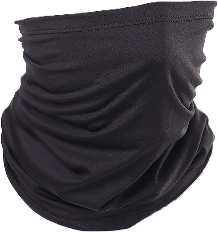 Neck Gaiter Face Scarf Cover Mask Sun Bandanas Balaclava Headwear Ice Silk Cooling Sports Headband Headwrap for Dust Outdoors Fishing Hiking Cycling Running Men & Women Black