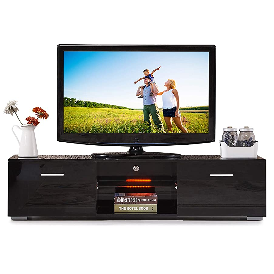 SUNCOO TV Stand Media Console Cabinet LED Shelves with Drawers for Living Room Storage High Gloss Black-63 inches