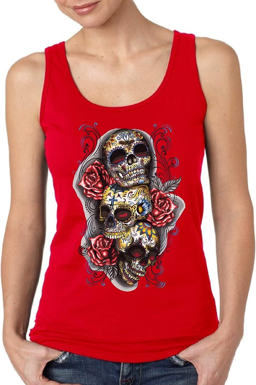 Mosaic Cow Skull Dia De Los Muertos Women/'s Skull Off Shoulder Sweatshirt