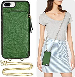 iPhone 8 Plus Wallet Case, ZVE iPhone 7 Plus Case with Credit Card Holder Crossbody Chain Wristlet Strap Protective Zipper Leather Case Cover for Apple iPhone 7 Plus 8 Plus, 5.5 inch - Dark Green
