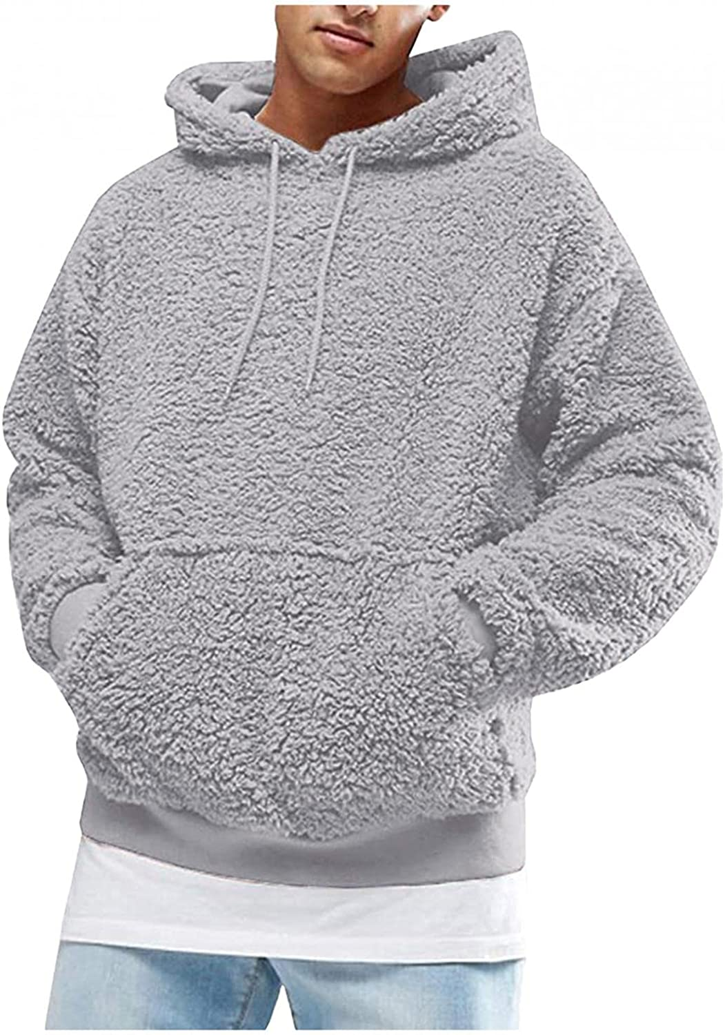 Huangse Mens Fuzzy Sherpa Jacket Hooded Fleece Cozy Pullover Long Sleeve Hoodies with Pocket Thermal Coat Fall Winter Outwear