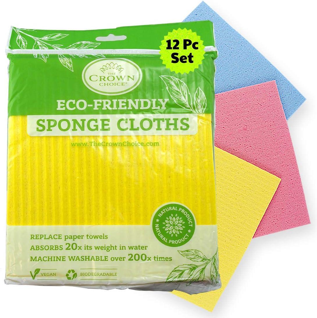No Odor Swedish Sponge Cloth Max 66% OFF Pcs 12 Bulk Biodegrada 100% quality warranty Natural