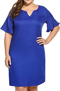 IN'VOLAND Women Plus Size V-Neck Loose Short Sleeve Summer Basic Midi Casual Dress