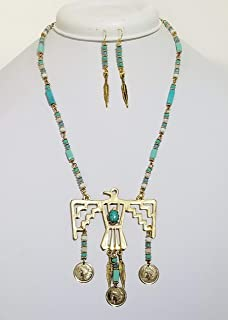 Aztec Eagle Inca Cross Gold Indian Necklaces Earrings Handmade One of a Kind