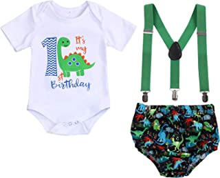 Baby Boys Cake Smash Clothes Dinosaur Bodysuit Diaper Suspenders Pants 3PCS Set First Birthday Outfit for Photo Prop Party