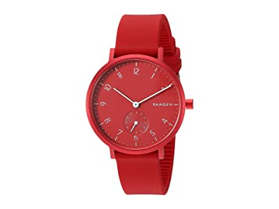 Skagen Aaren Kulor 36mm Three-Hand Silicone Watch (SKW2765 Red Silicone) Watches
