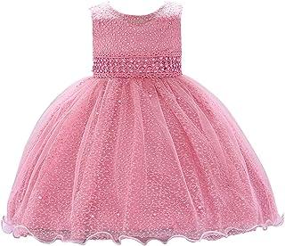 4d809e60991a5 Happy Cherry - Robe de Baptême Bébé Fille sans Manches Robe de Princesse  pour Fête d