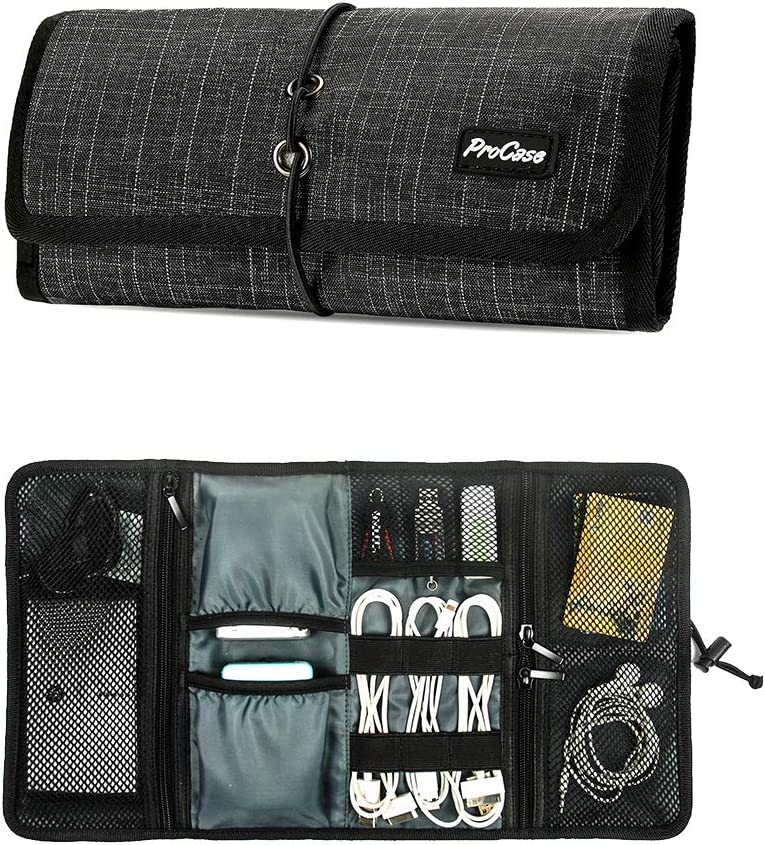 ProCase Accessories Bag Organizer, Universal Electronics Travel Gadgets Carrying Case Pouch for Charger USB Cables SD Memory Cards Earphone Flash Hard Drive –Black Plaid