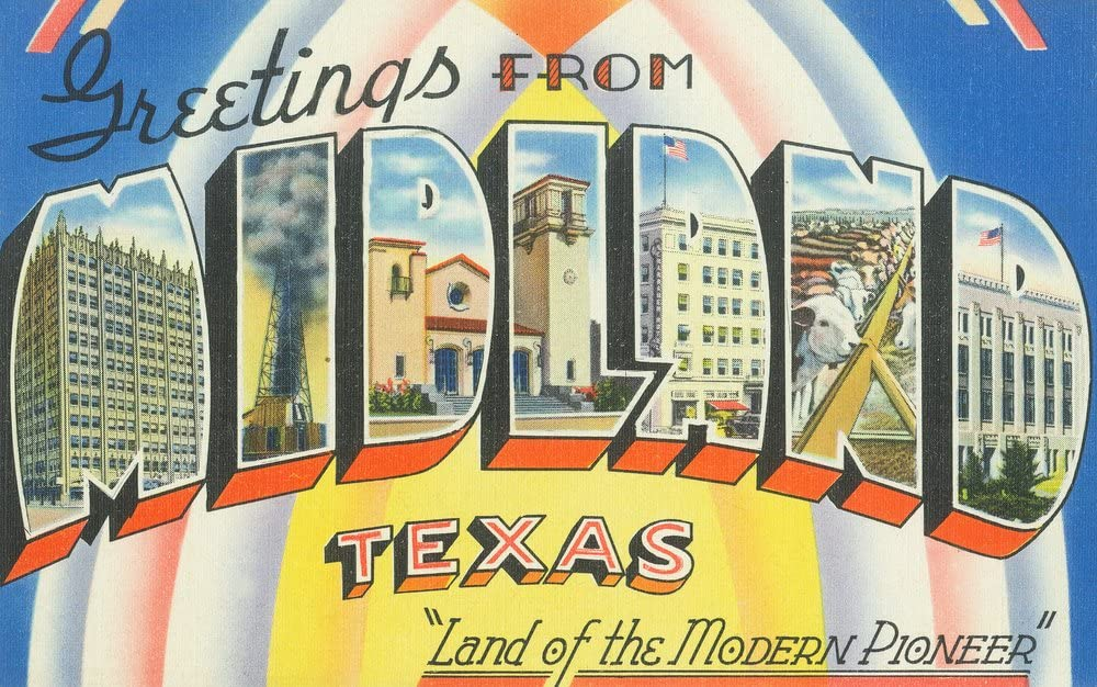 Midland Texas - Greetings From Large Scenes Our shop 35% OFF most popular 36x54 Gic Letter