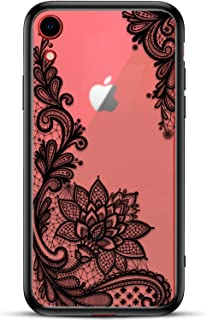 Apple iPhone XR Slim Fit Phone Case for Girls Women with Cute Black Flowers Design - Ultra Thin Matte Hard Plastic Case Cover and Protective Hybrid Rubber Bumper - Cool Floral Pattern