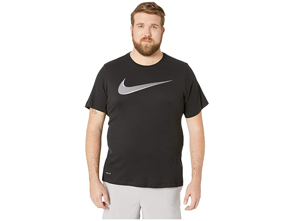 Nike Big Tall Dry Tee Dri-Fit Cotton 2 Year Swoosh (Black/White) Men