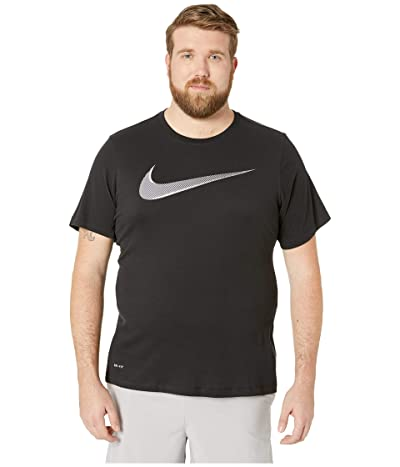 Nike Big Tall Dry Tee Dri-Fit Cotton 2 Year Swoosh (Black/White) Men