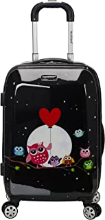 Rockland Vision Hardside Spinner Wheel Luggage, Night Owl, Carry-On 20-Inch