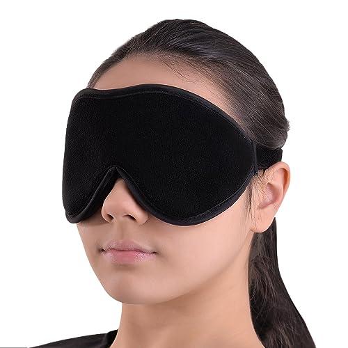 Luxus Schlafmaske - Sanfte Augenbinde - Schlafbrille mit 100% Lichtschutz für Tiefenentspannung - Beste Augenmaske aus Fließ - Sleeping Mask