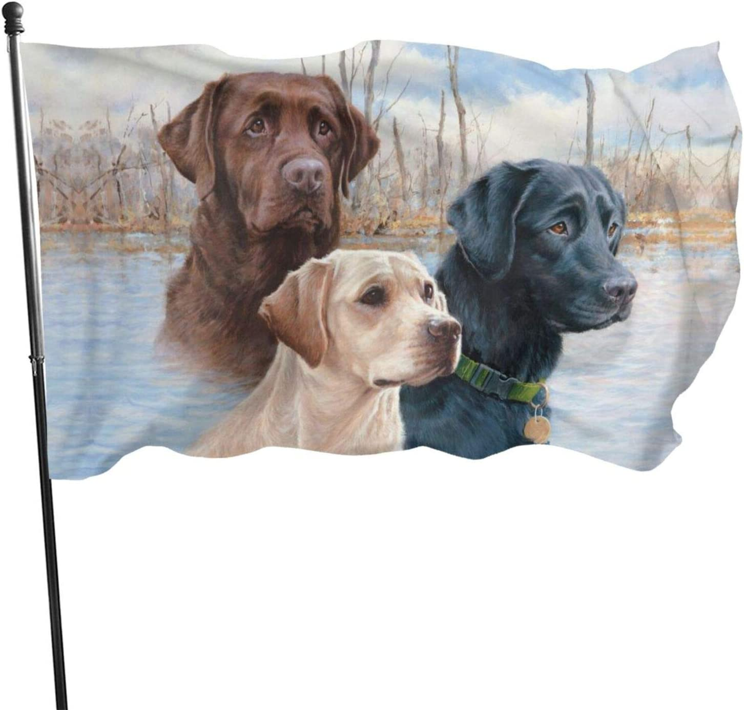 Granbey Collection Labrador Flag Retrievers Dogs Polyester Flags UV Fade Resistant Black Golden Brown Dogs Printing Waterproof Flag Heavy Duty Durable Flags Built for Outdoors Garden Decor 3X5FT