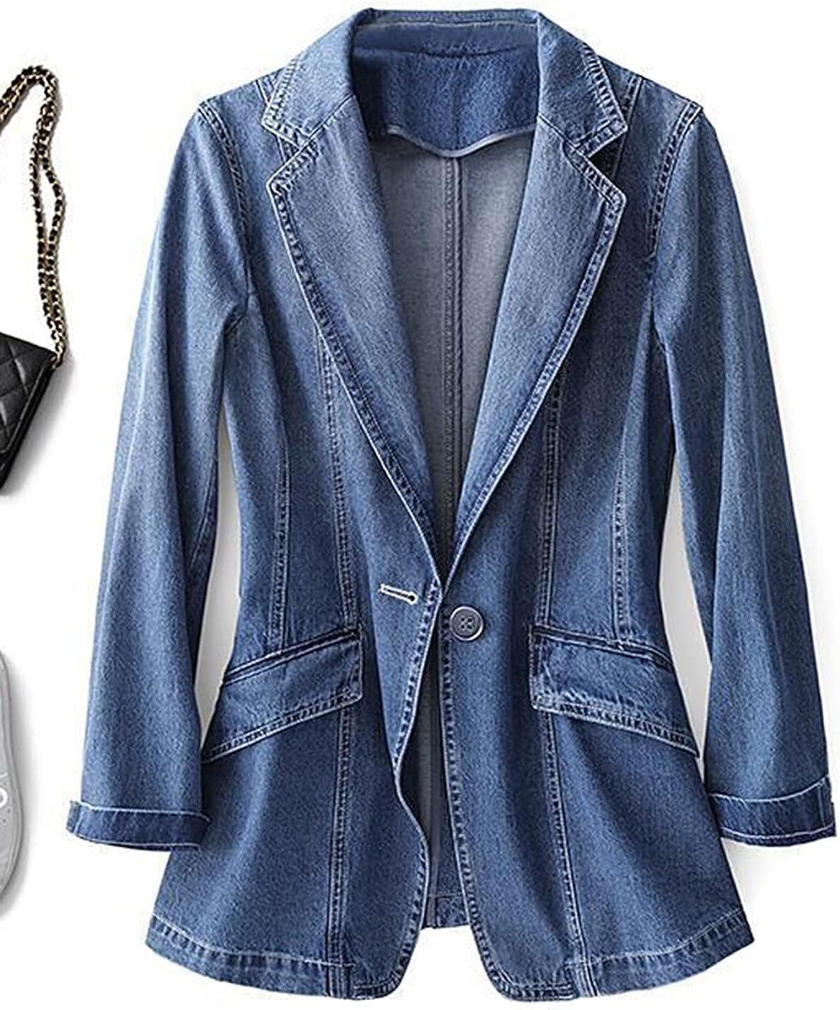 Omoone Women's Oversized Boyfriend Open Front Denim Blazer Trucker Jackets Coat