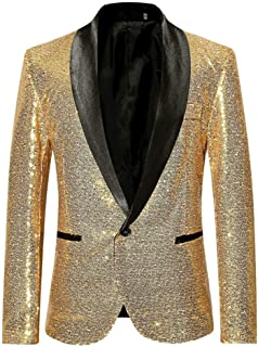 Battnot Herren Anzug Slim Fit Pailletten Blazer, Männer Sequin Mantel für Geschäft Hochzeit Party Business Casual Eine Knöpfe Jacke Suit Regular Fit Mens Fashion Top Coat Outwear S-2XL Stilvolle Bluse