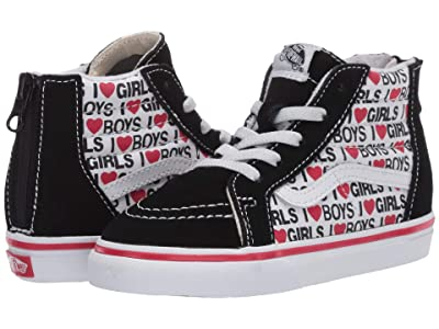 Vans Kids Sk8-Hi Zip (Infant/Toddler) ((I Heart) Black/True White) Kids Shoes