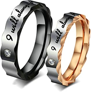 EoCot Stainless Steel 1 Pair Love I Will Always Be with You Zirconia Couples Wedding Promise Band Ring