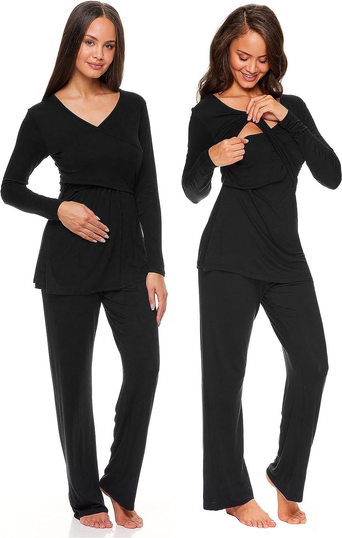Lamaze Women's Maternity Lounge V-Neck OFFicial Long Paj and Shirt Atlanta Mall Sleeve