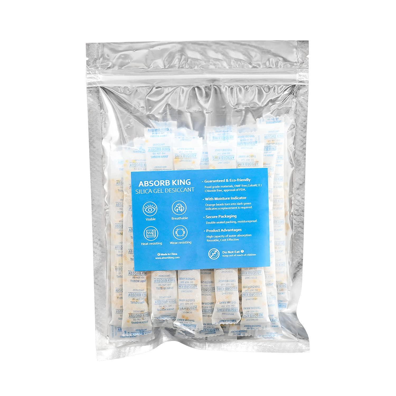 Absorbking 10 Gram (30 Packs) Food Grade Silica Gel Desiccant Color Indicating(Orange to Dark Green) Moisture Absorber Products…
