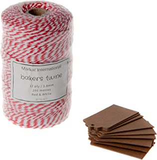 Red and White Bakers Twine Roll in 200 Metres or 656 Feet for Butcher Baking Craft Wrapping and Gardening Comes Complete with Bonus 10 Kraft Gift Tags All by Markat International.