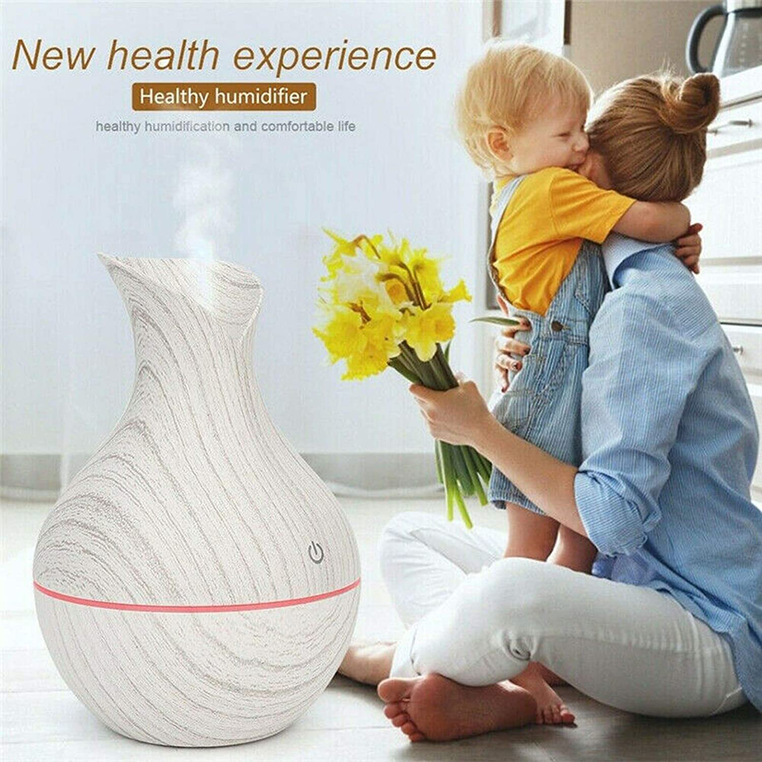 Hosafe 130ml Cool Mist Humidifiers Low Noise Humidifiers Waterless Auto-Off LED Essential Oil Diffuser Humidifier Aromatherapy Wood Grain Vase Aroma 300ml A1