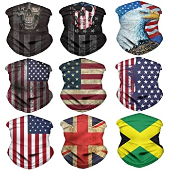 9Pcs Unisex Outdoor Cycling Anti UV Band Neck Scarf Full Face Cover Flag Design