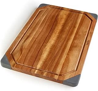 PortoFino Acacia Wood Cutting Board / 2-in-1 Reversible Serving Board / Cheese Board / Anti-Slip Non-Marking Silicone Corners / 15.75 L x 10.5 W x 0.75 H (inches)