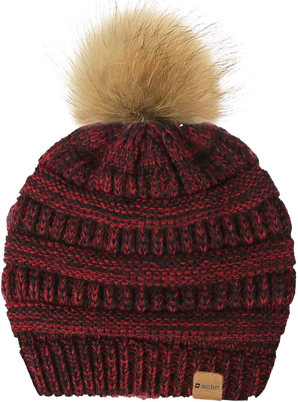 Beanie Hats for women with Pom Pom  Warm, Soft Knit Beanie, Thick Slouchy Knit Skull Cap