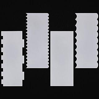 Lot de 4 racloirs à gâteau en acrylique transparent permettant d'effectuer 4 finitions différentes, pour la décoration de ...