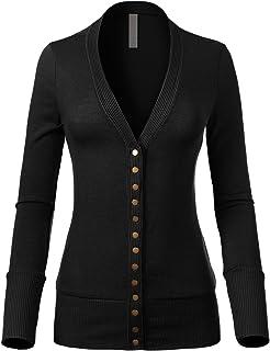 Design by Olivia Women`s Soft Basic V-Neck Snap Button Down Knit Cardigan