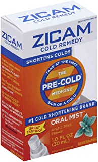 Zicam Cold Remedy Arctic Mint Oral Mist, : Clinically Proven to shorten colds when taken at the first sign of symptoms, ho...
