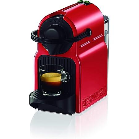 Krups Nespresso Inissia XN1005 - Cafetera monodosis de cápsulas Nespresso, 19 bares, apagado automático, color rojo, Pack cápsulas bienvenida incluido