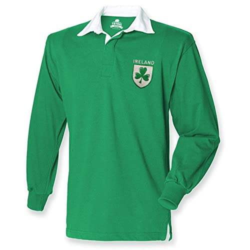 5036dc6c1 FunkyShirt Ireland Retro Rugby Shirt Fans Jersey Shamrock Logo Mens 6  Nations Irish
