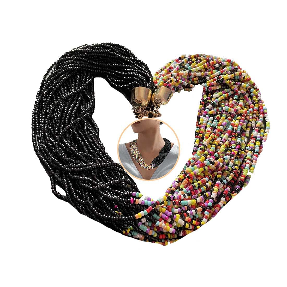 Grestal Bib Seed Beads Statement Choker Necklace Boho Multi-Layer Strands Long Collar Necklace Chunky Necklaces Delicate Jewelry Adjustable for Women Girls (B)