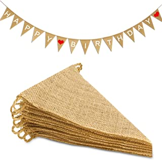Novelty Place 15Pcs Burlap Banner - 14 Ft Triangle Flag - DIY Hand Painted Home Decorations for Holiday, Birthday, Wedding...