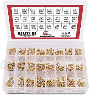 Hilitchi 720-Pcs 0.1uF-100nF 24 Value DIP Monolithic Multilayer Ceramic Chip Capacitors Assortment Kit