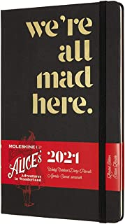 Moleskine 2021 Alice Wonderland Weekly Planner, 12m, Large, Mad Hatter, Hard Cover (5 X 8.25)