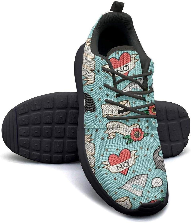 Gjsonmv Shark Heart Anchor Skill Flowers bluee mesh Lightweight shoes Women Comfortable Sports Sneakers shoes
