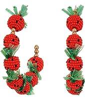 """2""""X2"""" """"C"""" Shape Post Hoop Earrings with Strawberries"""