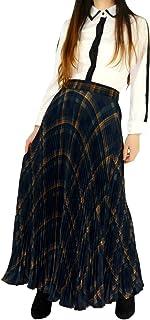 YSJERA طويلة منقوشة للنساء - تنانير كاملة من الشيفون البوهيمي 360 بلون أشعة الشمس