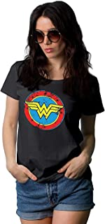Wonder Black Tee Shirt Women - Superhero Novelty Womens Graphic T Shirts