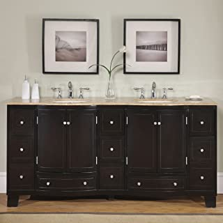 Silkroad Exclusive Countertop Travertine Stone Double Sink Bathroom Vanity with Dual Cabinet, 72