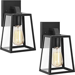 Emliviar Outdoor Wall Sconces 2 Pack, 1-Light Porch Lights Fixture, Black Finish with Clear Bevel Glass, OS-1803AW1-2PK
