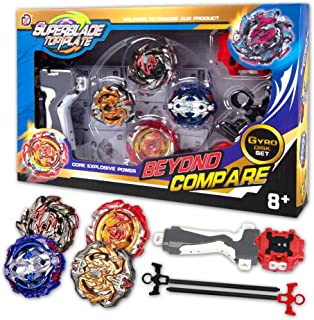 Innoo Tech Bey Battle Blade Burst | 4 Pieces Speed Gyro Metal Combat Gyro Set | 4D Fusion Model Burst Evolution Combination Series with 2 Launcher Toys for Kids