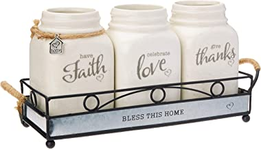 Precious Moments Set/4 Inspirational Mason Jar With Holder, Cream/Green