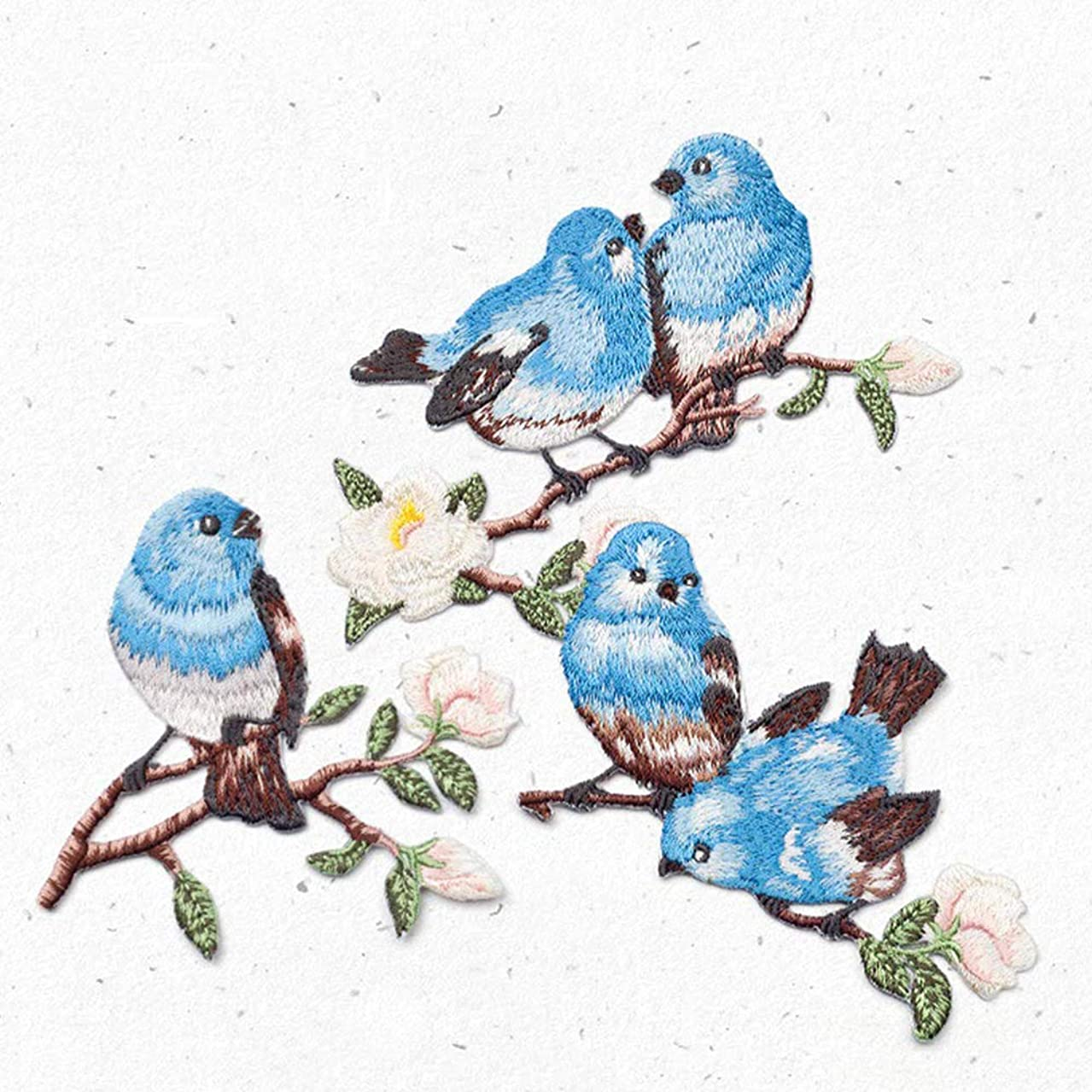 ZOOPOLR 3 Pcs Cute Birds Delicate Embroidered Patches, Embroidery Patches, Iron On Patches, Sew On Applique Patch,Cool Patches for Men, Women, Boys, Girls, Kids