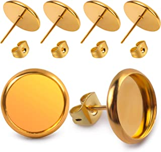 Jdesun 40 Pieces Stainless Steel Stud Earring Cabochon Setting Post Cup for 12mm and 40 Pieces Earring Safety Backs, Gold Color