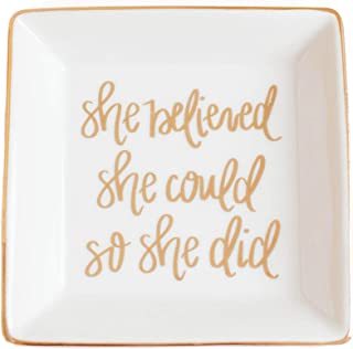 She Believed She Could Jewelry Dish | Square Gold Ring Trinket Tray Storage Inspirational Motivational Gift for Her Cerami...
